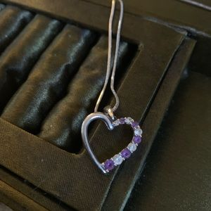 Amethyst and Diamond Heart Necklace